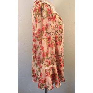 LC Lauren Conrad Tops - LC Lauren Conrad Disney Peach Floral Blouse Medium